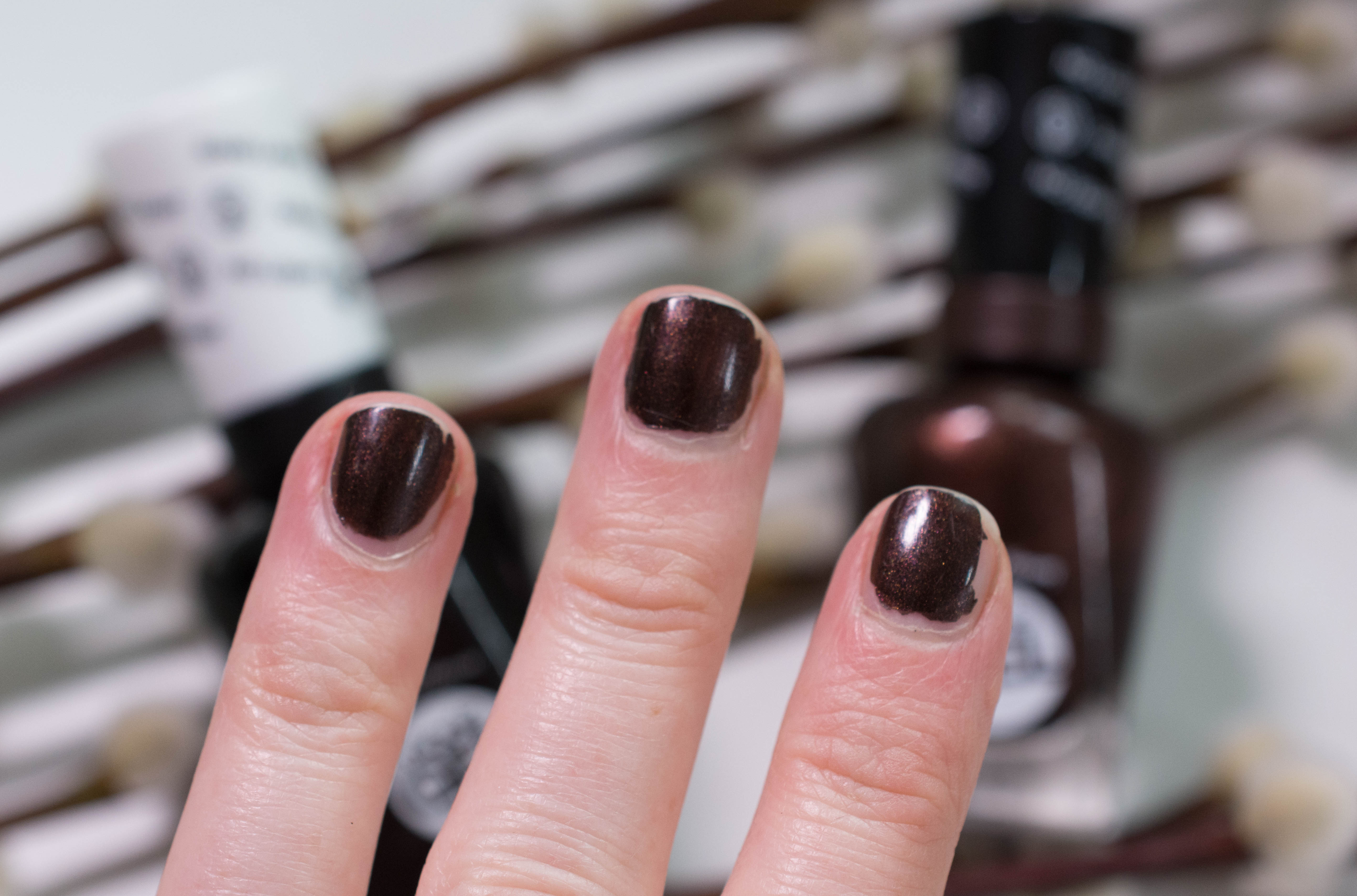 """Sally Hansen Miracle Gel """"Spice Age"""" after seven days on my nail"""