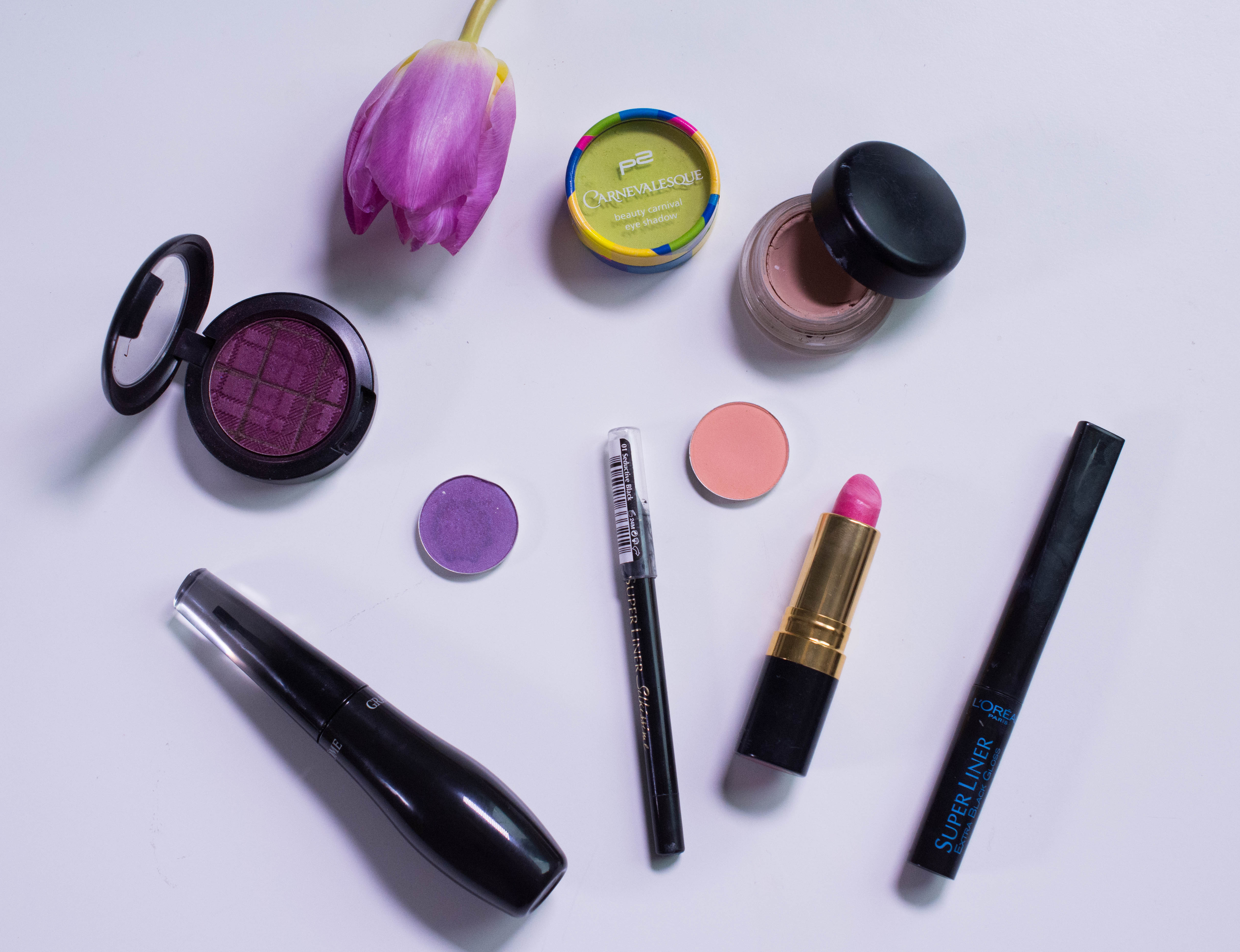 Products used on my eyes and lips
