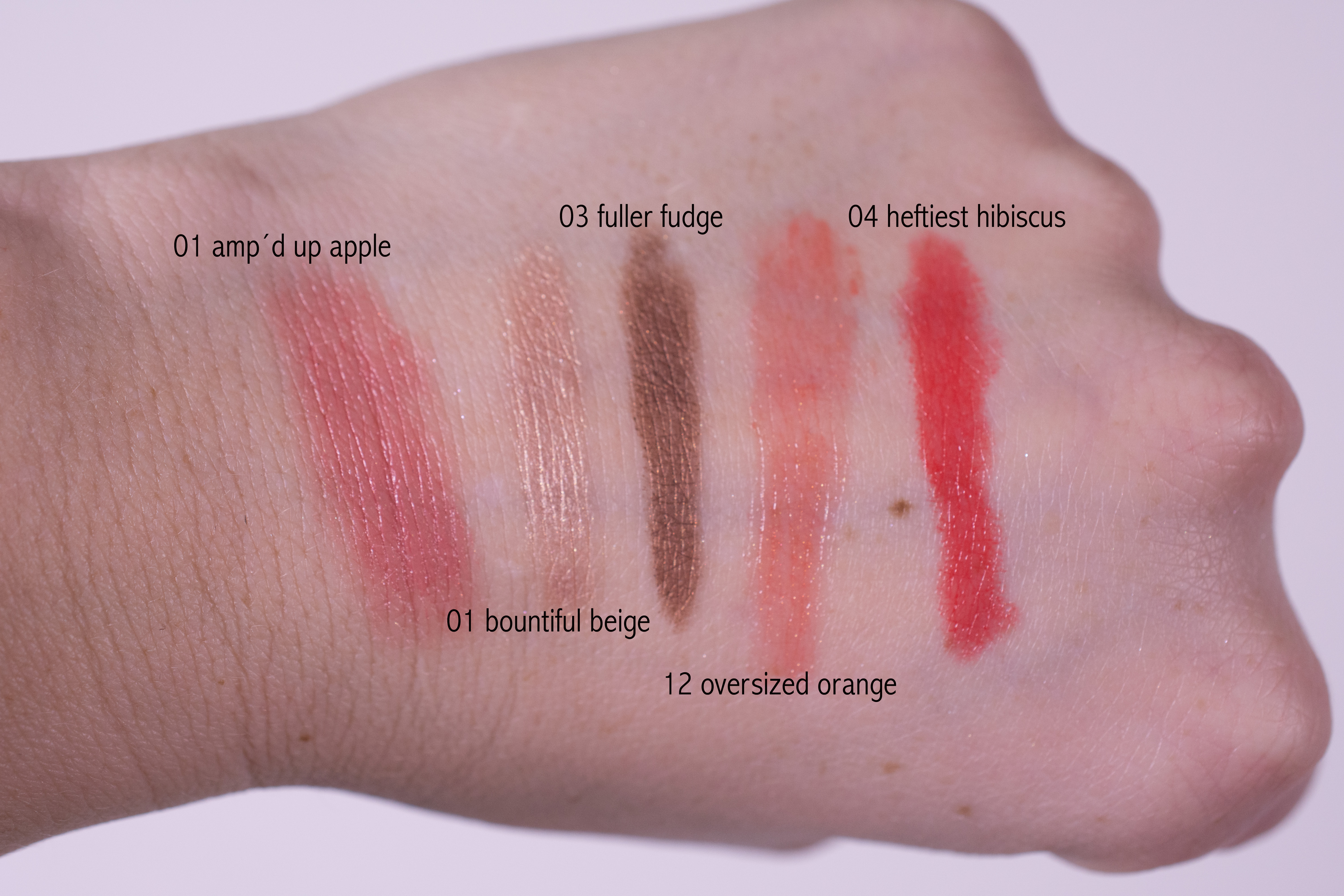 Swatches of the Clinique Chubby Stick Set (travel exclusive)