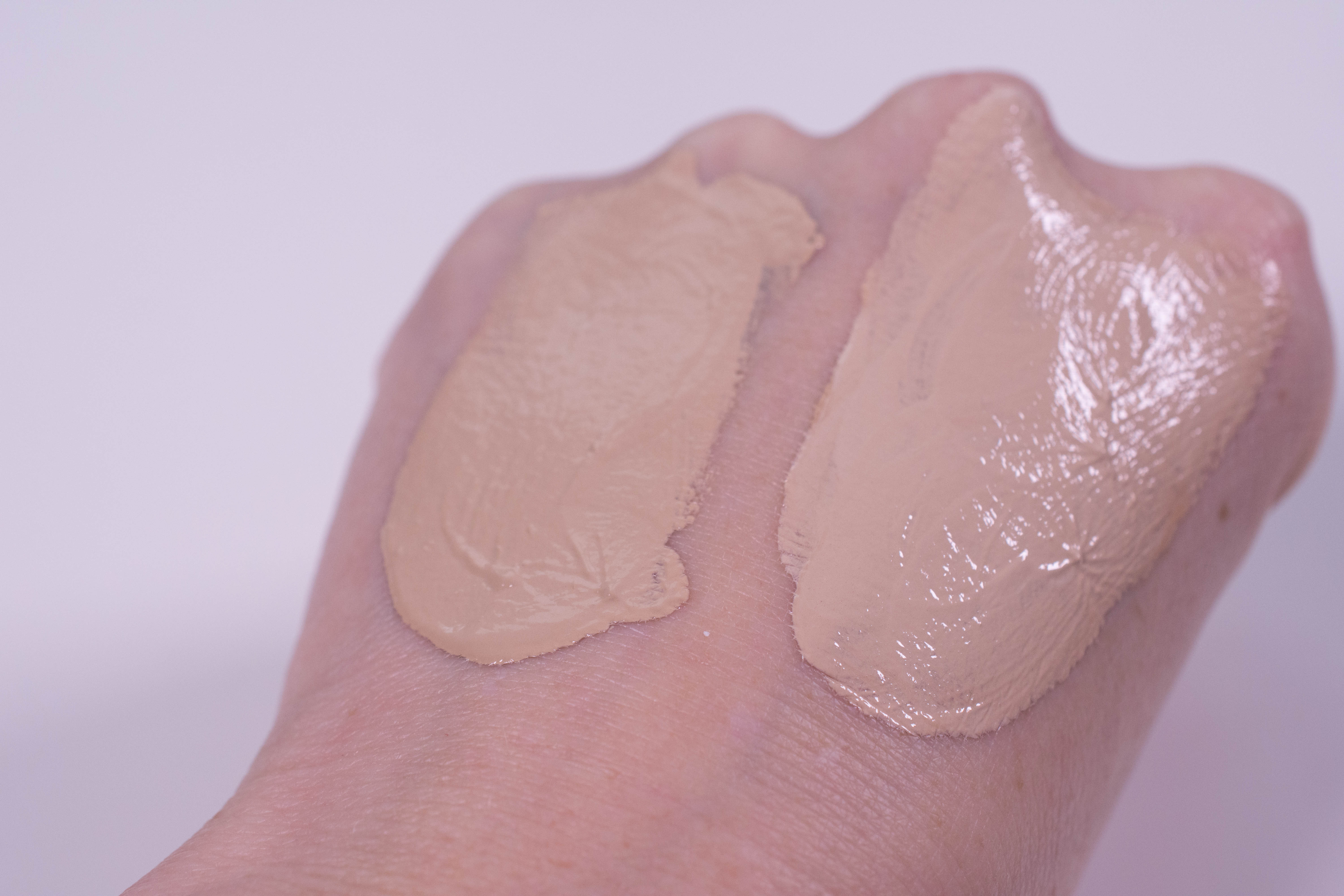 Catrice All Matt plus foundation in Light Beige on the left, same foundation mixed with one drop of TBS Shade Adjusting Drops on the right