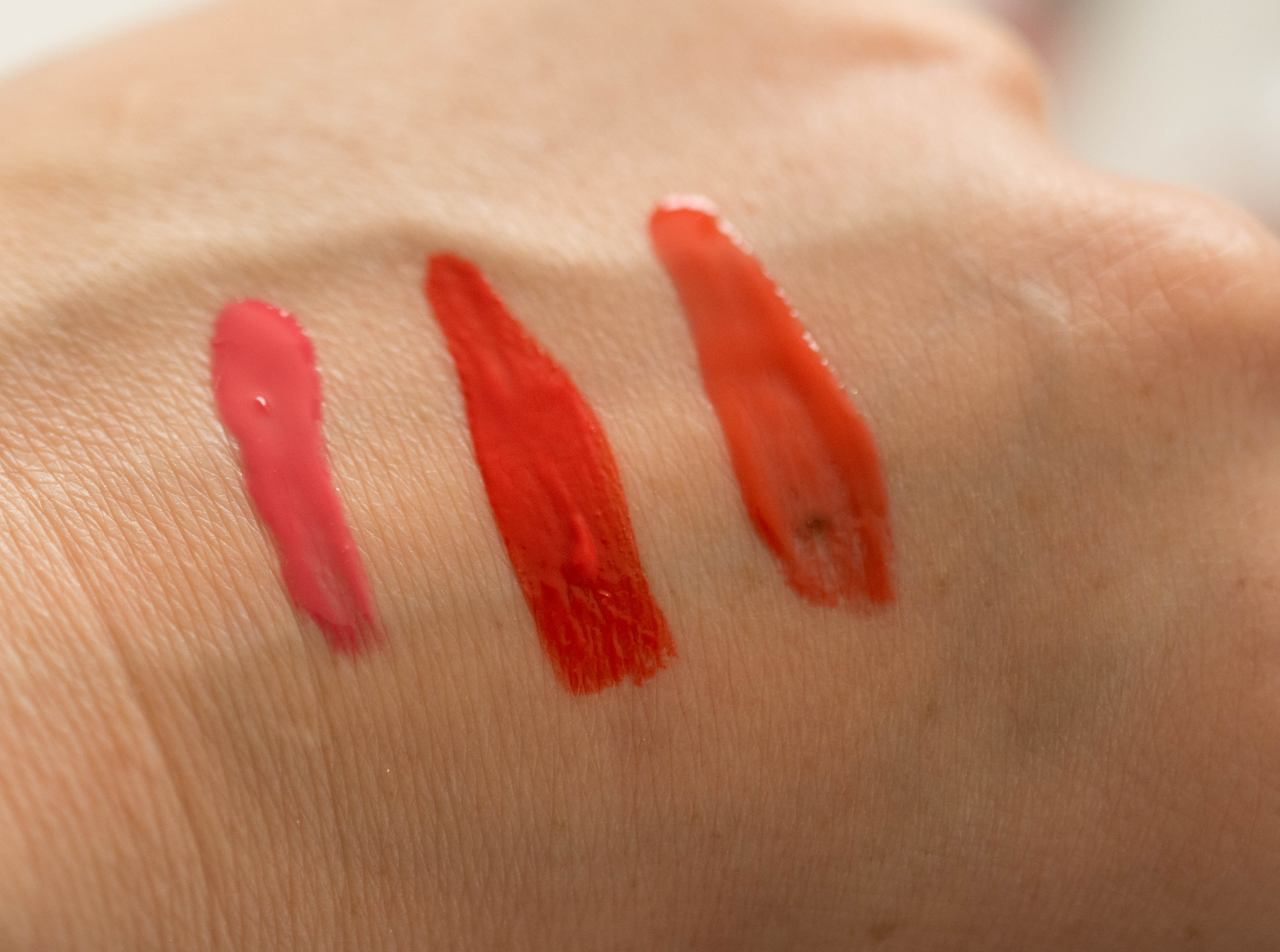 Seasonal Challenge Summer 2016 - lip gloss swatches (left to right as listed above)