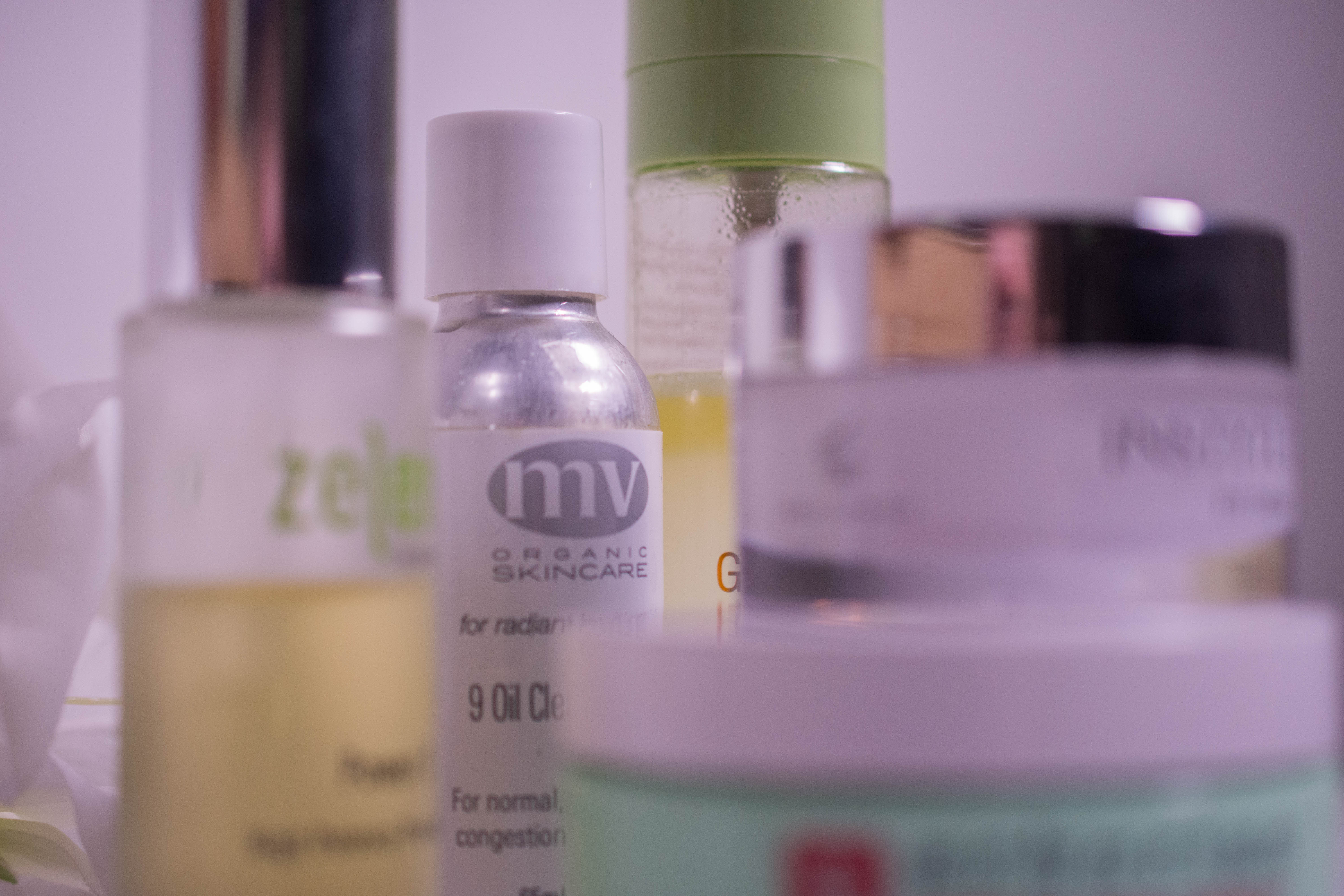 Winter evening skincare routine for mature, acne prone and dehydrated skin
