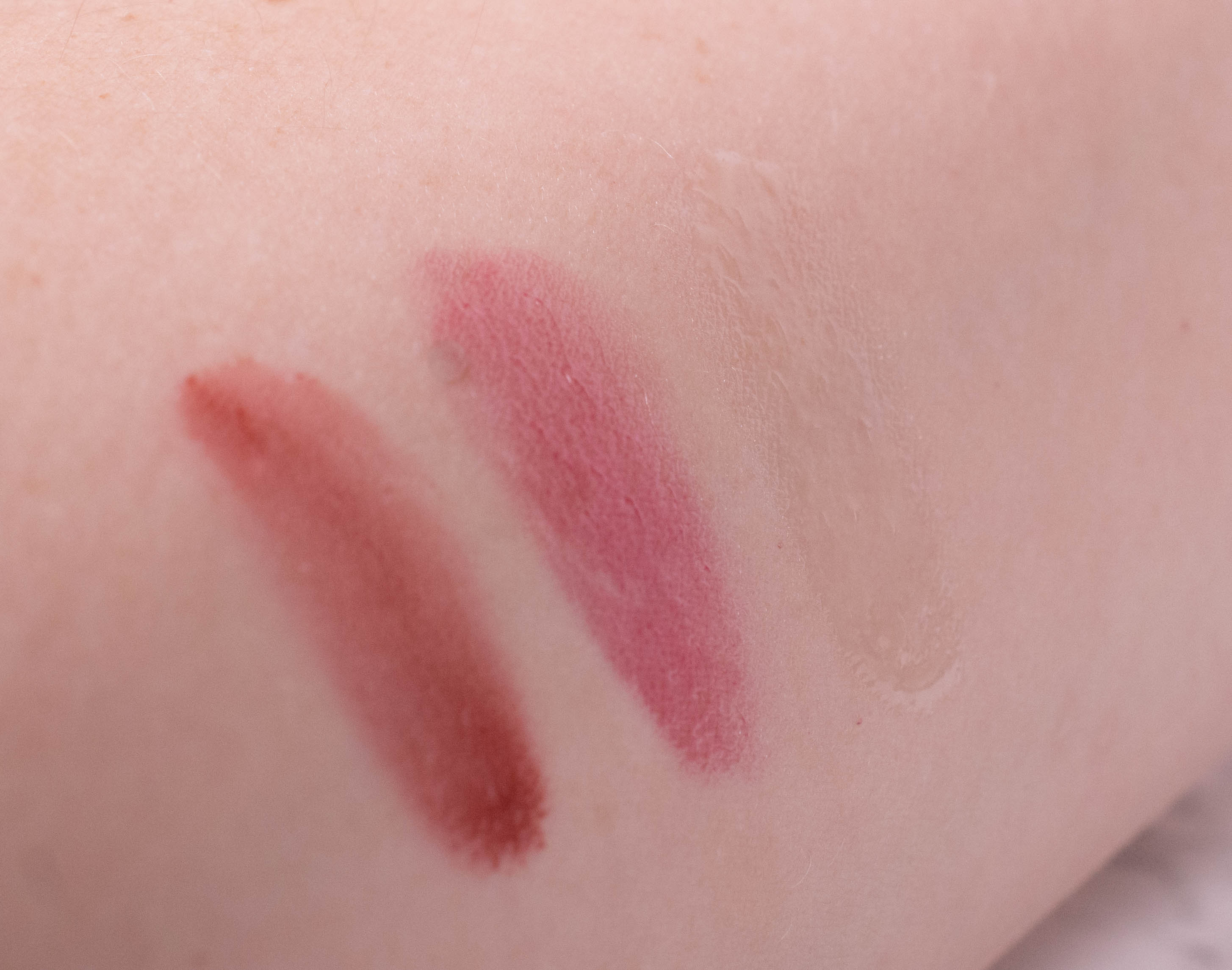 Swatches of the Emile Cordon Miracle Lip Balm in Madison Queen, Charlotte and Moroccan Mint