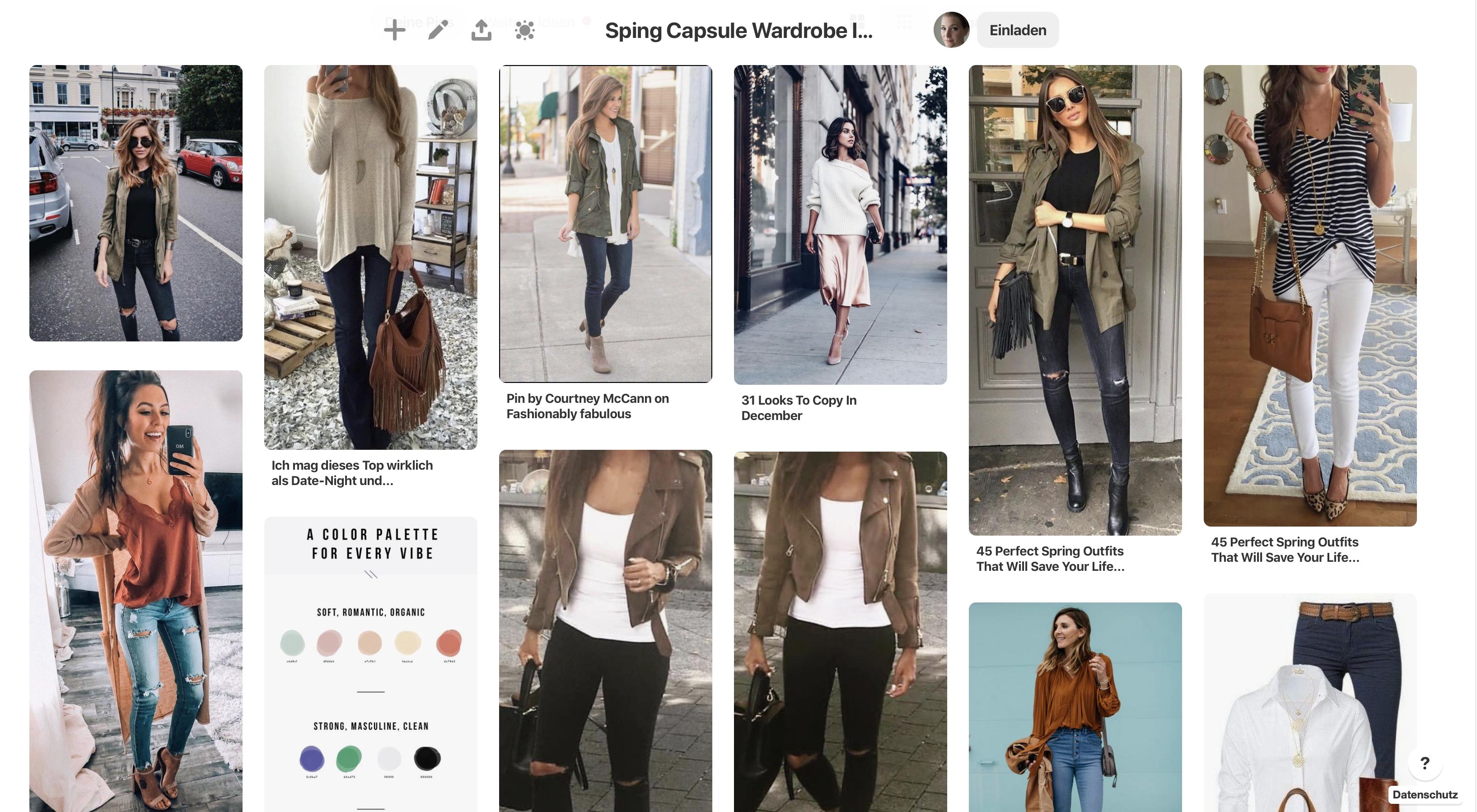 My Spring Capsule Wardrobe Pinterest Mood Board