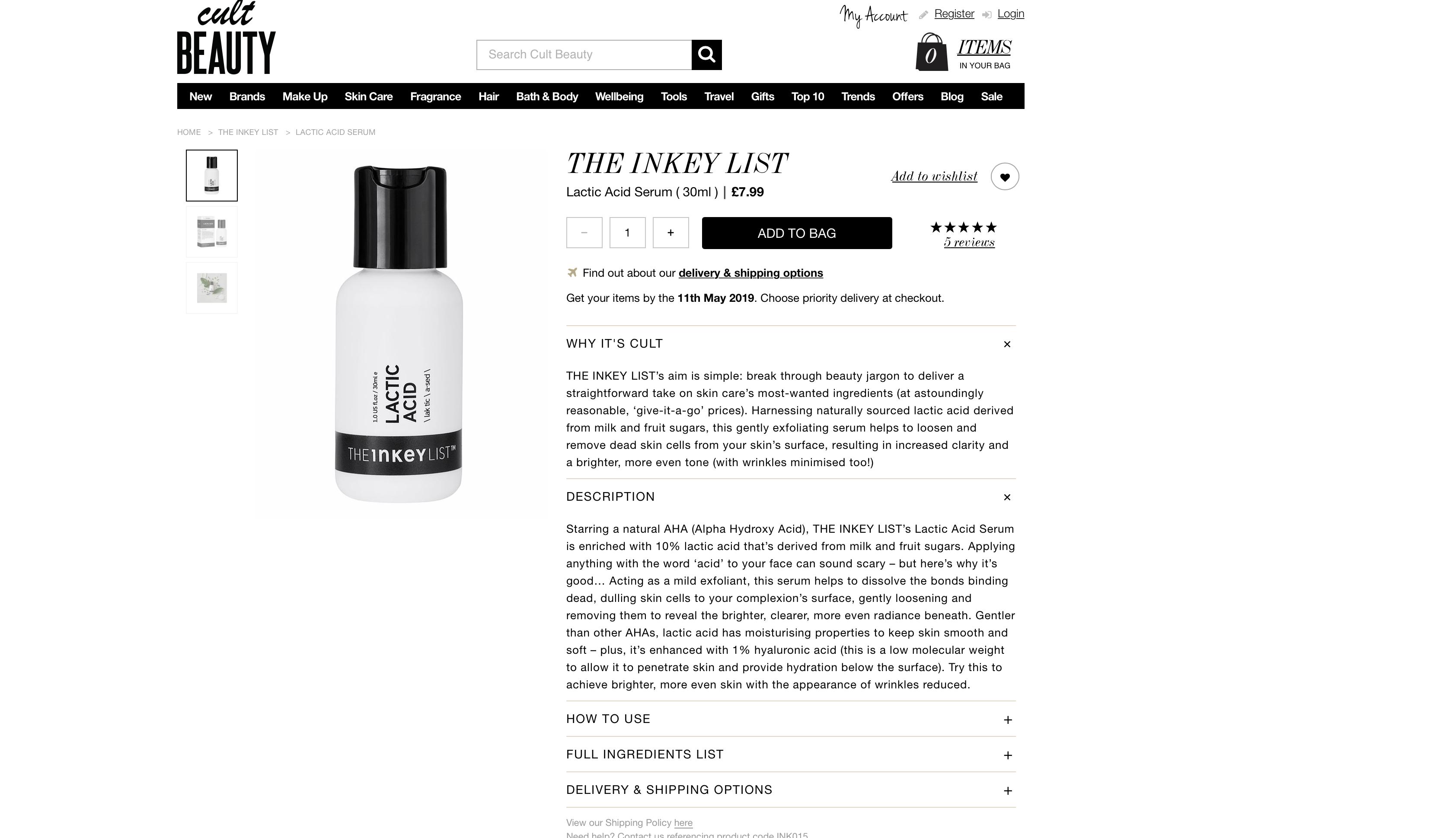 The Inkey List Lactic Acid Serum