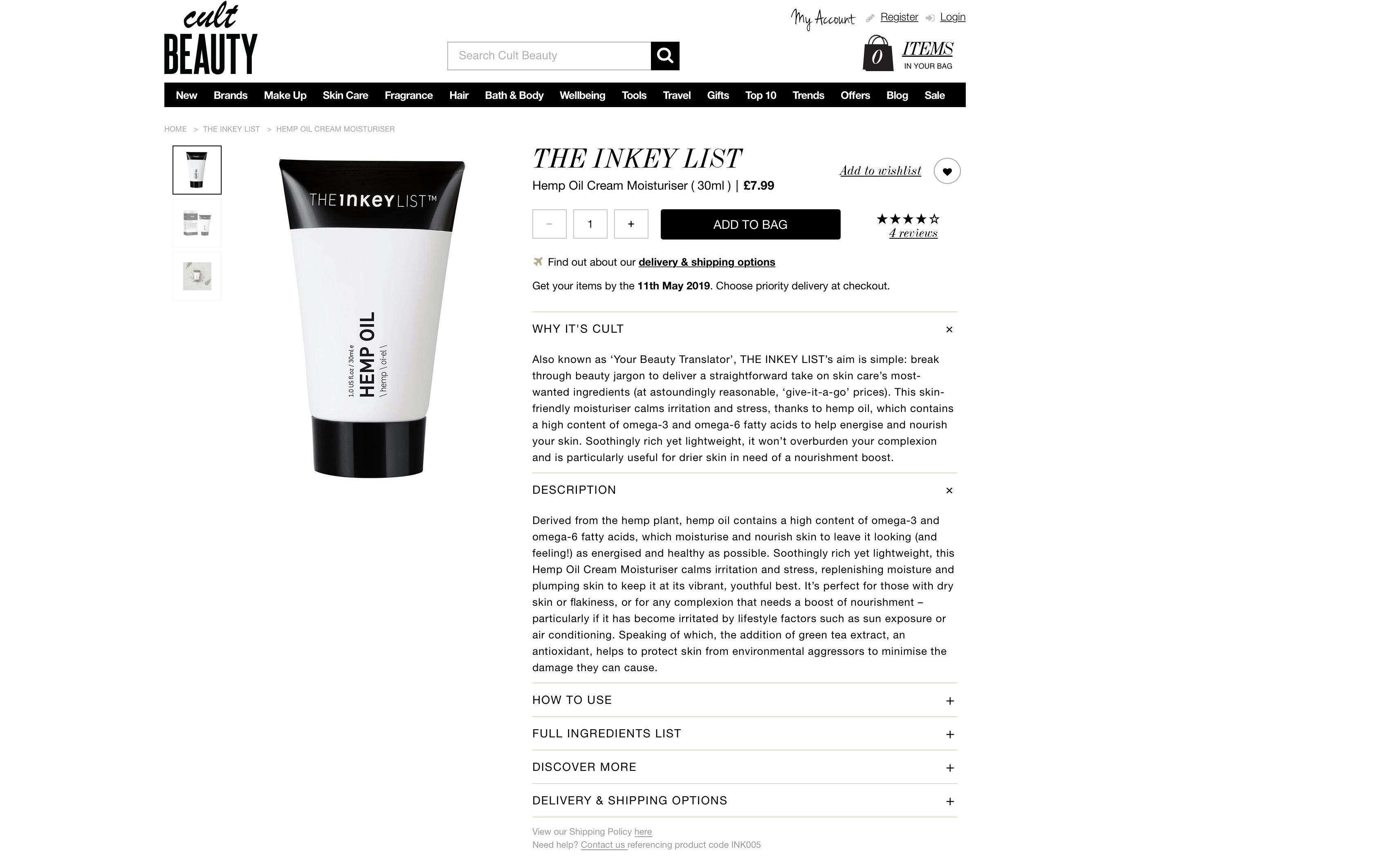 The Inkey List Hemp Oil Cream Moisturizer