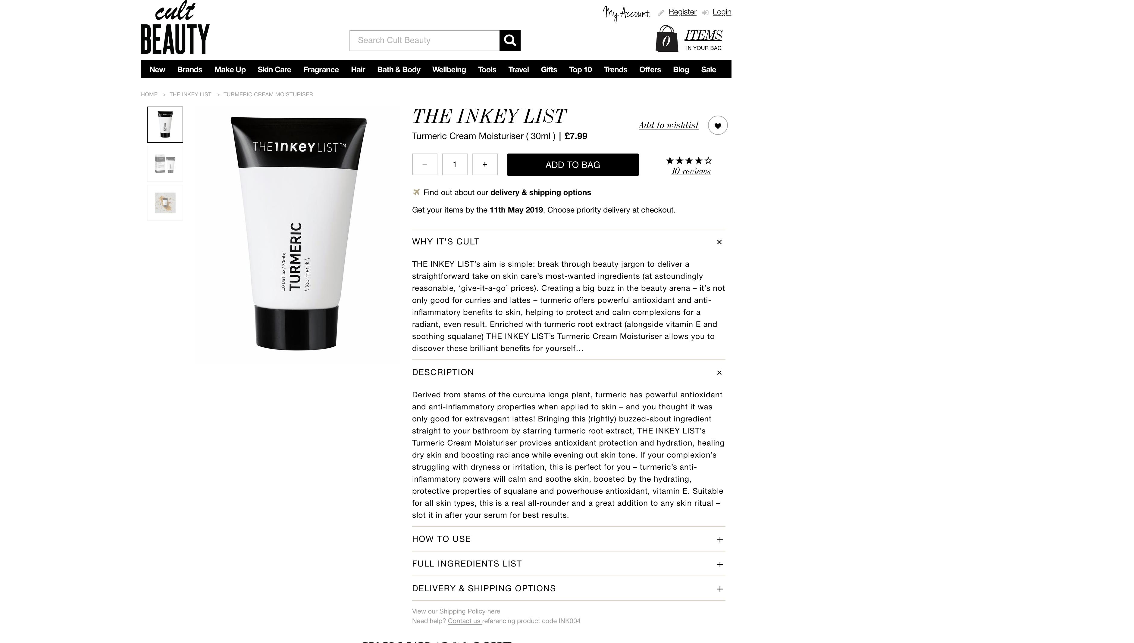 The Inkey List Tumeric Cream Moisturizer