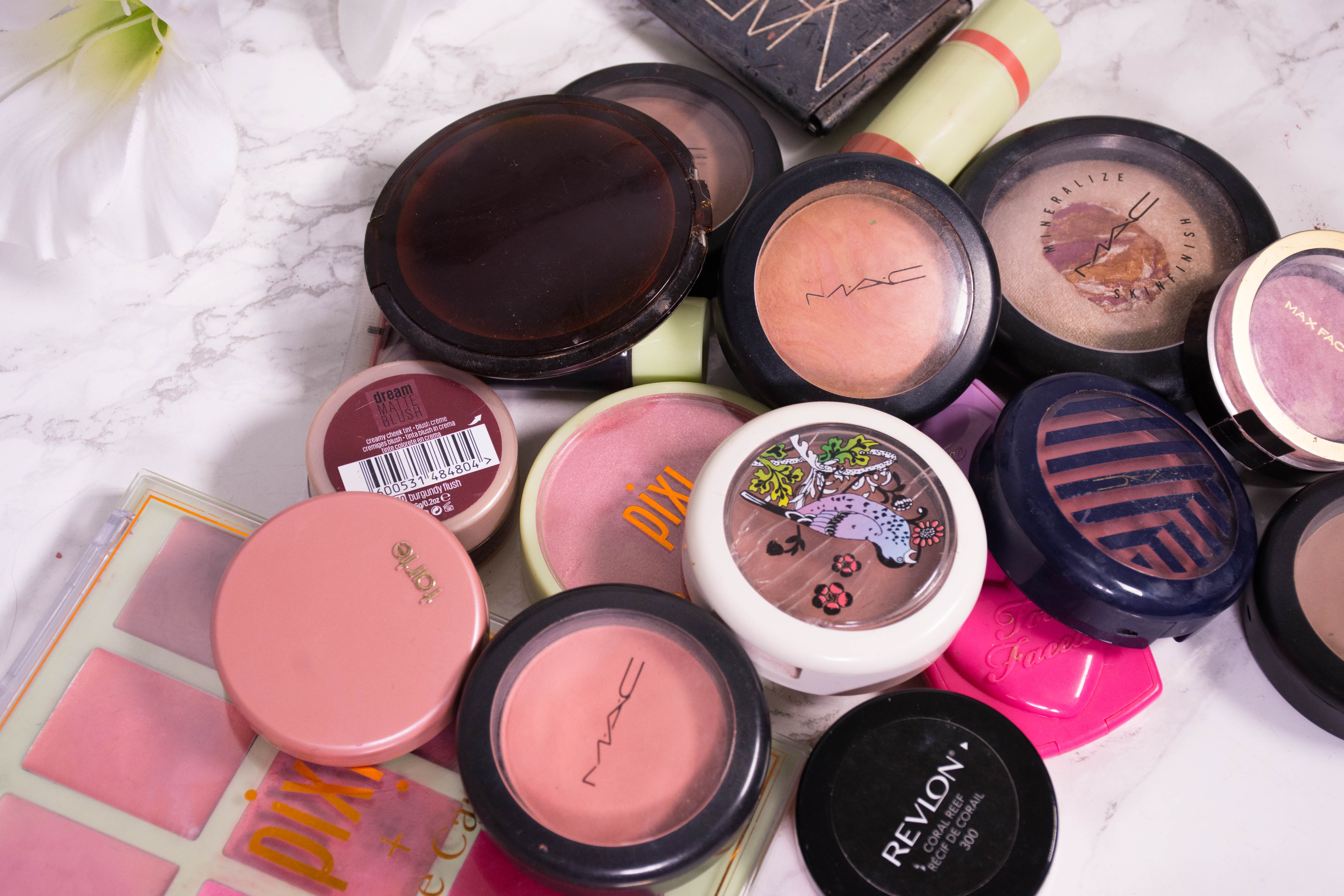 Makeup Declutter Blush and bronzer collection